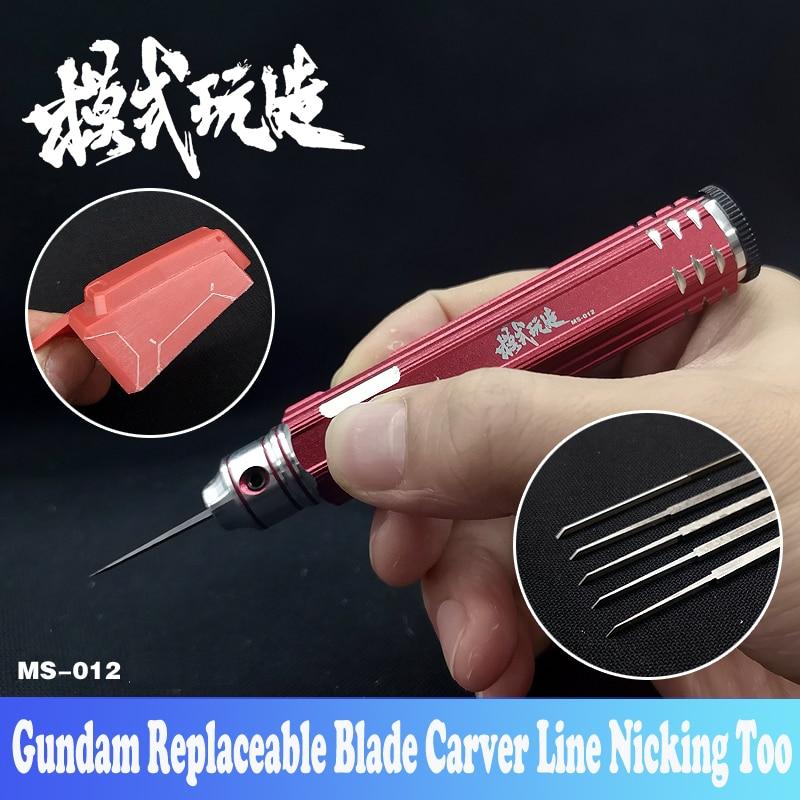 Gundam resina modelo 5 em 1 substituível lâmina carver linha nicking ferramenta empurrar broach esculpida espada diy hobby ferramentas de corte acessório