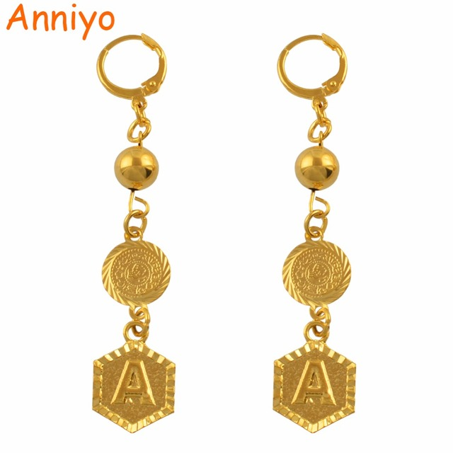 Anniyo A Z Arab Coin Letter Earrings Beads Alphabet African Earring Gold Color Jewelry More