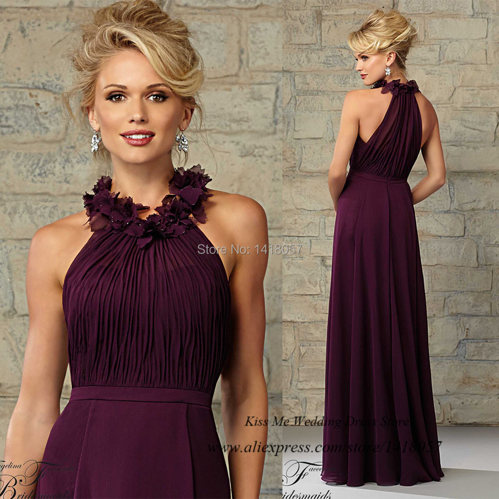 vestido madrinha de casamento purple bridesmaid dresses for beach weddings 2015 flowers long wedding guest wear