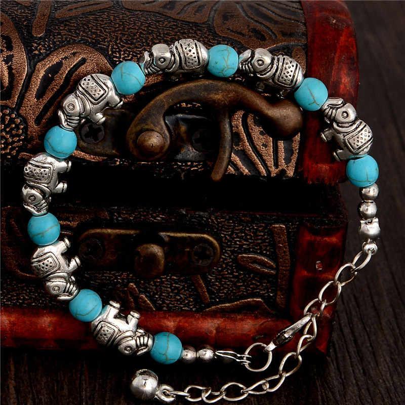 H: hído moda Bohemia elegante forma de elefante brillante cuentas de piedra Natural pulsera encantadora accesorios hechos a mano joyería de moda