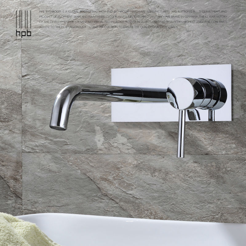 HPB Contemporary Copper Concealed Basin Mixer Hot and Cold Water Bathroom Faucet Wall Mounted Mixer Tap torneira banheiro HP3306 wall of the cold and hot water tap copper concealed washbasin single hole basin faucet stainless steel waterfall faucet lt 304 4