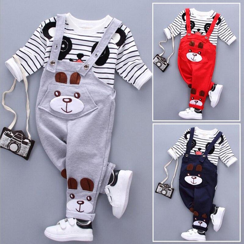New children autumn clothing suits kids panda T-shirt + belt pants 2Pcs/set baby boys girls Spring Unisex wear