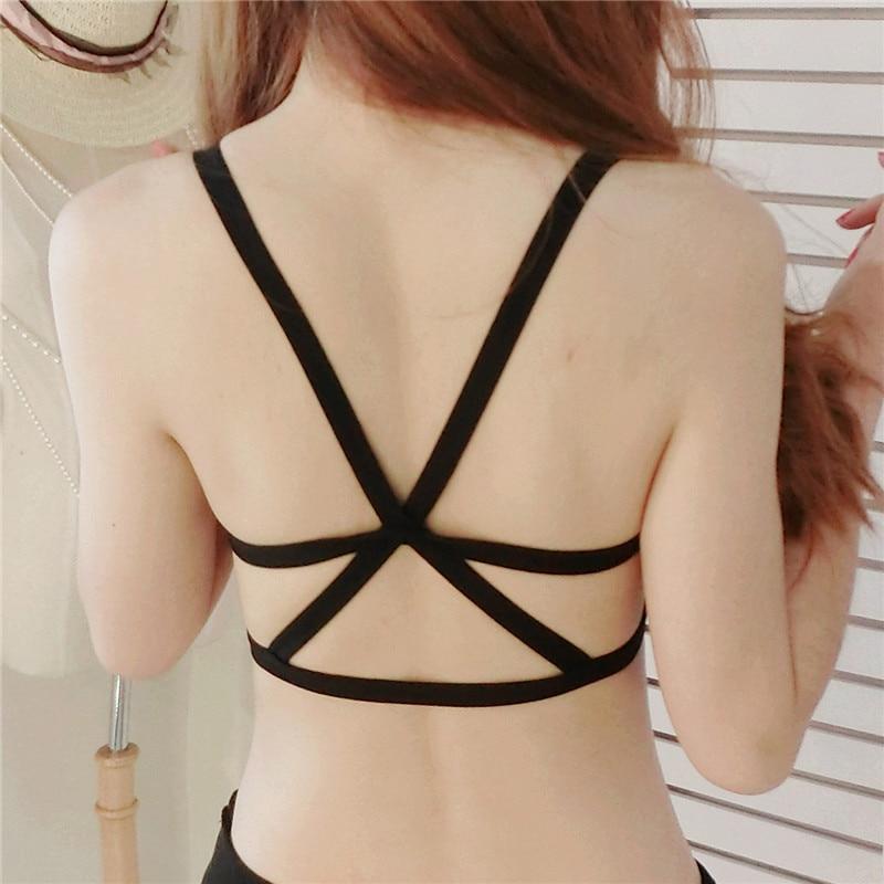 Woemn сексуальные модные Activewear раздел Weird Черный Белый линии бюстгальтера
