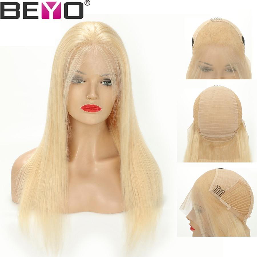 בלונדינית תחרה מול פאה 613 תחרה מול שיער טבעי פאות לאישה ברזילאי ישר פאת תחרה עם תינוק שיער רמי 10 -24 אינץ Beyo