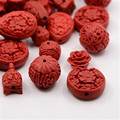 50 pcs Cinnabar Beads Carved Lacquerware Mixed Shapes Red 12~22x10~21x8~12mm,Charms women jewelry Hole: 2mm