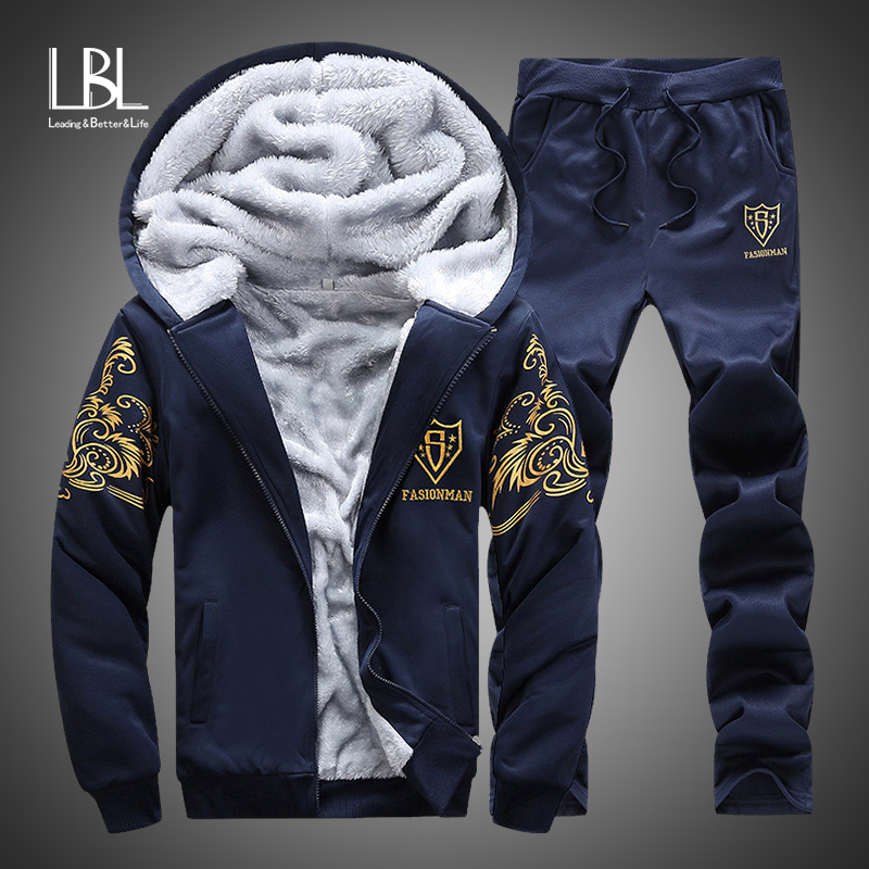 Tracksuits Men Set Winter Warm Thicken Fleece Hoodies + Pants Suit Spring Sweatshirt Sportswear Set Male Hoodie Sporting Suits
