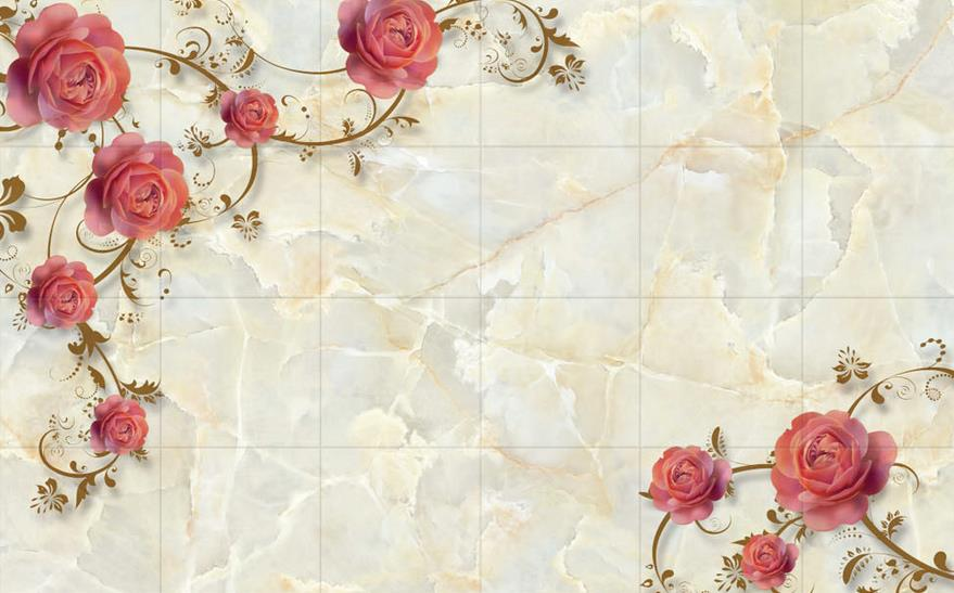 Marble rose shading tv backdrop 3d wallpaper flower 3d for 3d wallpaper for home wall bangalore