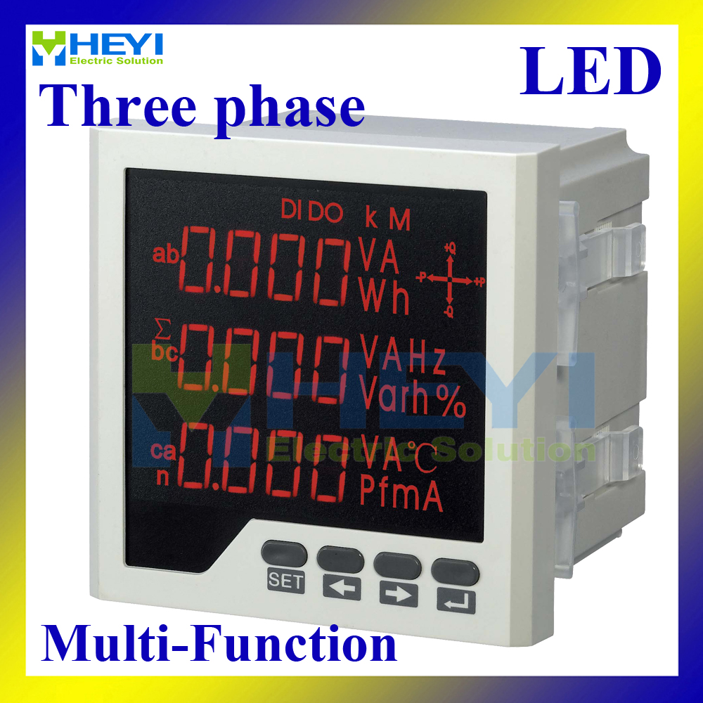 Three phase digital meter 96*96mm smart multifunction meter with RS485 for current voltage frequency active power reactive power single phase digital active power meter led power meter digital panel meter wattless power meter