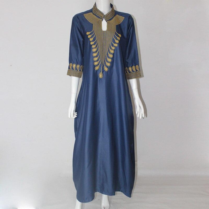 2016 Dashiki Afrikanska Bomullsklänningar För Kvinnor Top Bazin - Nationella kläder - Foto 3