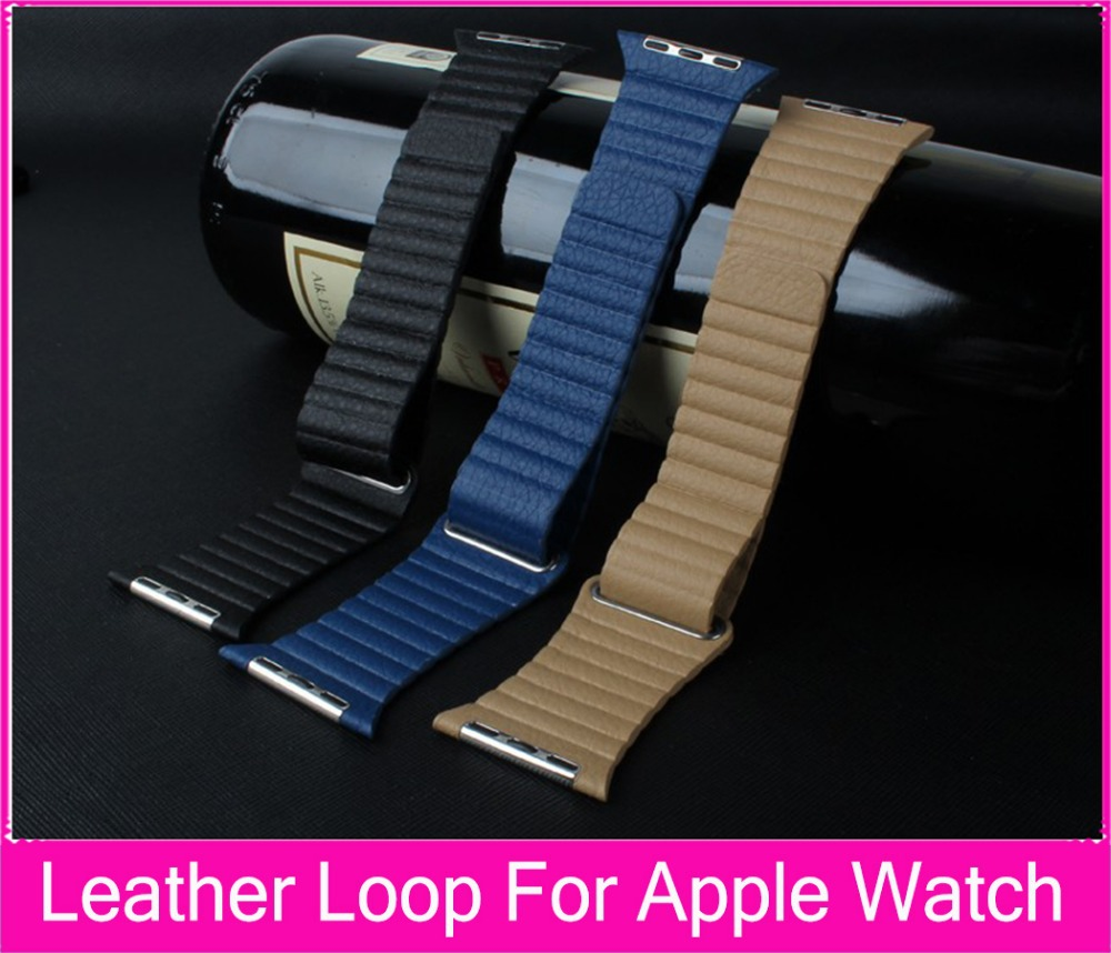 100% Genuine Leather Loop Watchband For Apple Watch Quilted Leather with Adjustable Magnetic Closure Loop 38mm 42mm