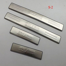 For Car Styling Hyundai 2011 Solaris Stainless Steel Door Sill Strip Welcome Pedal Automobile Stickers Accessories 4pcs