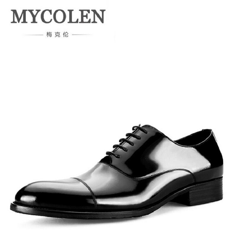 MYCOLEN Pointed Toe Men Leather Shoe Custom Handmade Genuine Calf Leather Men Dress Shoe Black Suit Footwear Zapatos de hombre цена