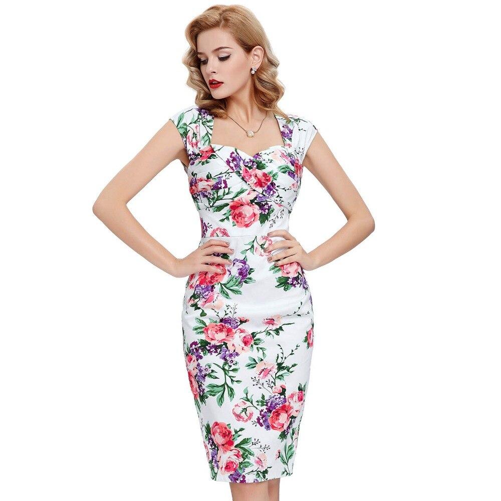 38fa22c2b6cd9 Moda Yaz Elbise Kadınlar Vestidos Seksi Kalem Bodycon Elbise Çiçek Yazdır  Kolsuz Retro Vintage Kokteyl Parti Elbise