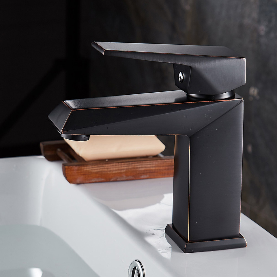 Bathroom Balck Lacquer Solid Brass Faucets Hot And Cold Water Basin Faucet Square Tap  Quality Valve Deck Mounted Faucets