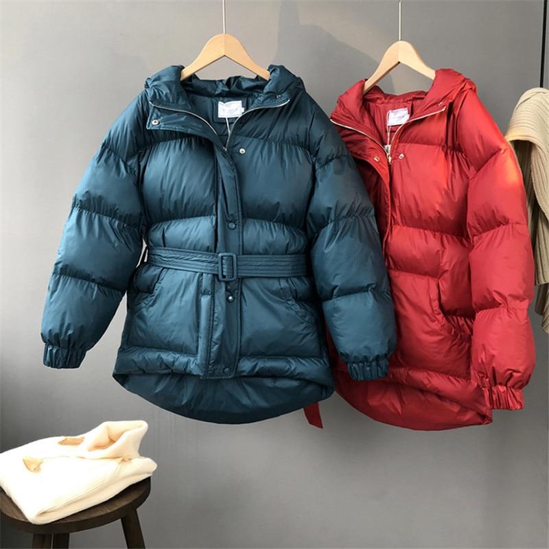 Manteau Épais red Zipper 10635 À Poitrine Couleur Solide Ceintures Capuchon Femmes Coréenne Parkas blue Trois Black Mode Oceanlove Veste Unique D'hiver FAwqvv