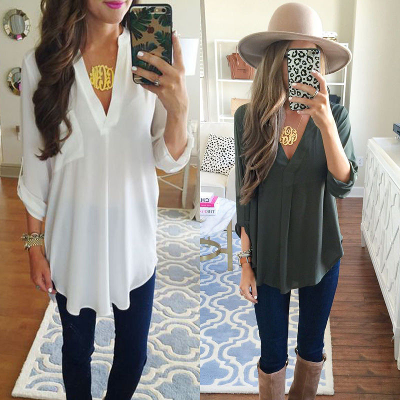 Women's Loose Long Sleeve V-Neck Casual   Blouse     Shirt   Tops Fashion   Blouse   US STOCK ba