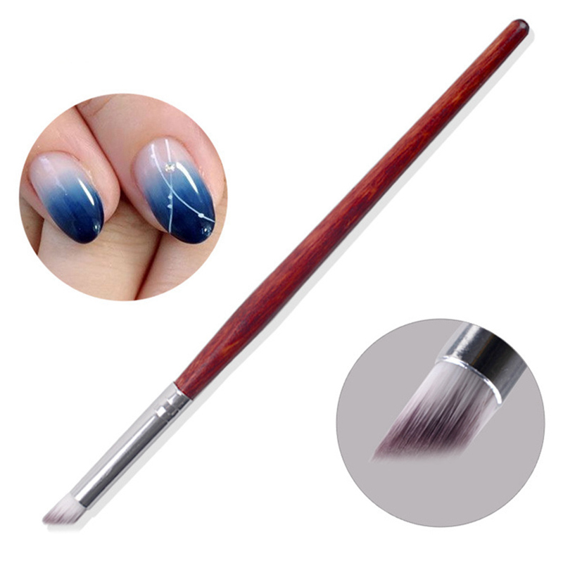 Punho de madeira náilon cabelo ombre escova da arte do prego escovas macio profissional unhas manicure ferramentas para gradiente uv gel prego