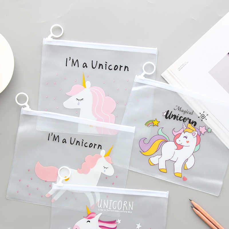 كوريا هي شفافة جميلة القلب حلقة حقيبة ملفات الإبداعية يونيكورن الطلاب الجدد الصغيرة قبول الحقائب بالجملة