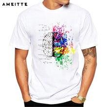 6e2f407743 AMEITTE cómico Albert Einstein camiseta creativa Rainbow Color cerebro  camiseta hombres Hipster matemáticas abstractas diseño ma.