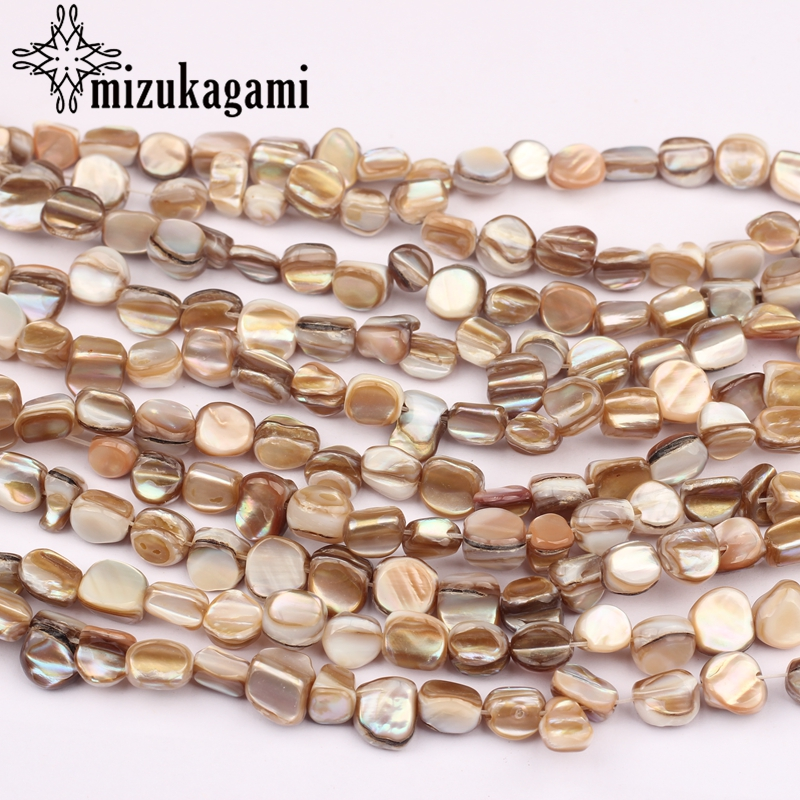 Beads Earrings Jewelry-Making-Accessories Freshwater-Shell Natural-Color DIY 7-8mm 50pcs/Lot