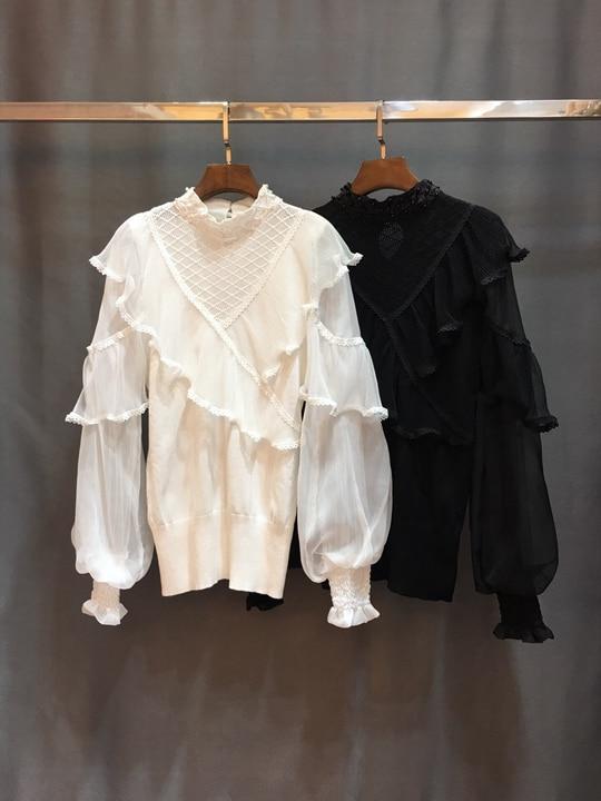 Écran Lotus Et Fil 2018 Feuille Perle Cou Tricoté Topcoat1213 blanc Manches Pur Perspective Noir Bord Ongles Lanterne Hiver Automne wYvqF4dpvx