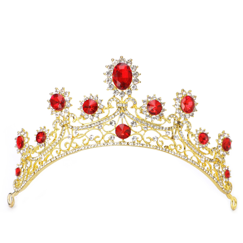 1PC Bridal Wedding Gold Red Rhinestone Hair Tiara Headband Crown Hair Accessories m15
