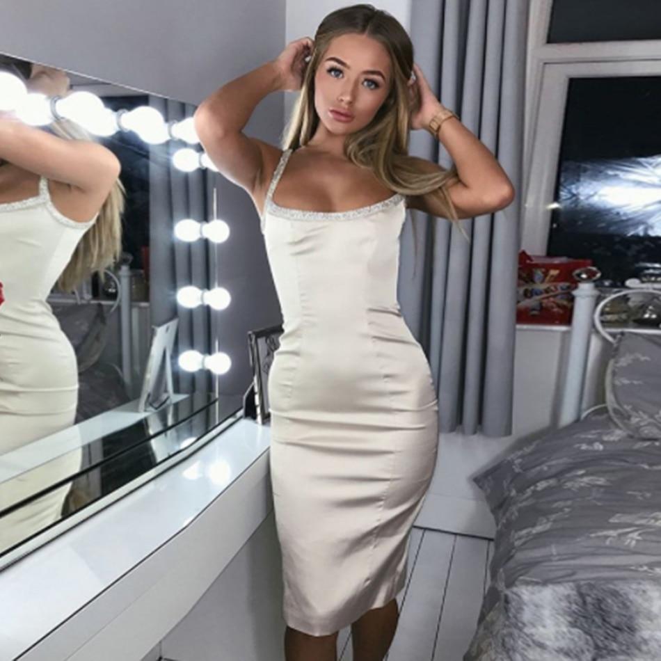 Embelli Cristal Dames Spaghetti Diamant Nude Fête Club Rose D'été De Sexy Robes Discothèque Tenue 2019 Robe Serré nmwN08