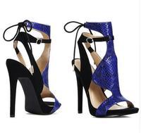New Arrival Summer Newest Arrival Blue Black Snakeskin Patchwork High Heel Sandal Slingback Lace Up Cut