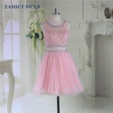 Pink Bling Beading 2 Pieces Homecoming Dress 2019 Graduation Dresses Tulle mezuniyet elbiseleri vestido de formatura