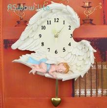 Pastoral Art Angel Wall Clock Living Room Bedroom Hanging Table Decoration Mute Pendulum Resin Modern Design