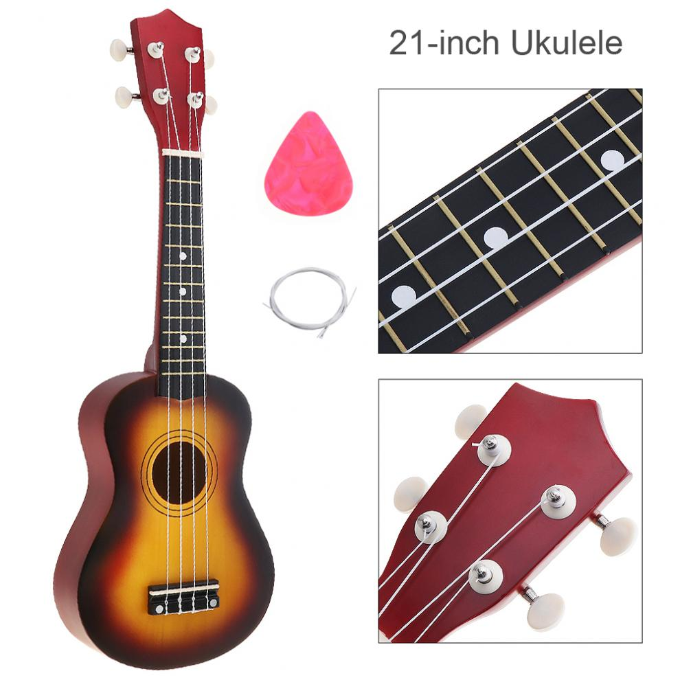 21 Inch Sun Color Ukulele Beginners Children Hawaii Four String Guitar with String and Pick