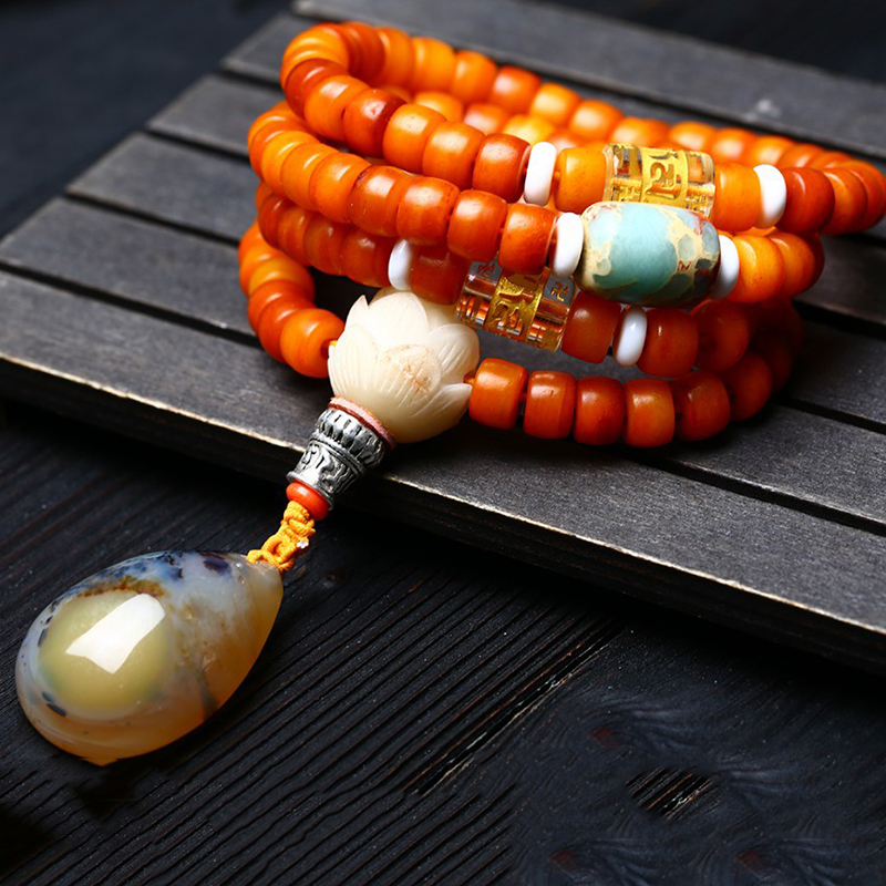 Wholesale Natural Yak Bone Bracelets 108 Buddha Beads Water Drop Pendant Necklace Rosary Tibetan Style Bracelet
