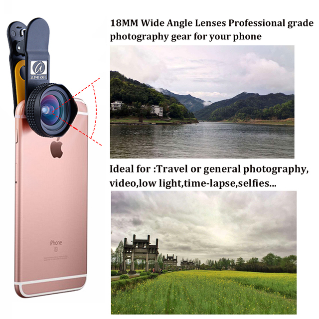 APEXEL Professional 4K Wide lens 0.6X HD super wide angle lens and 12-24X macro lens for iPhone 8 7s plus HTC cellphone 1824X 4