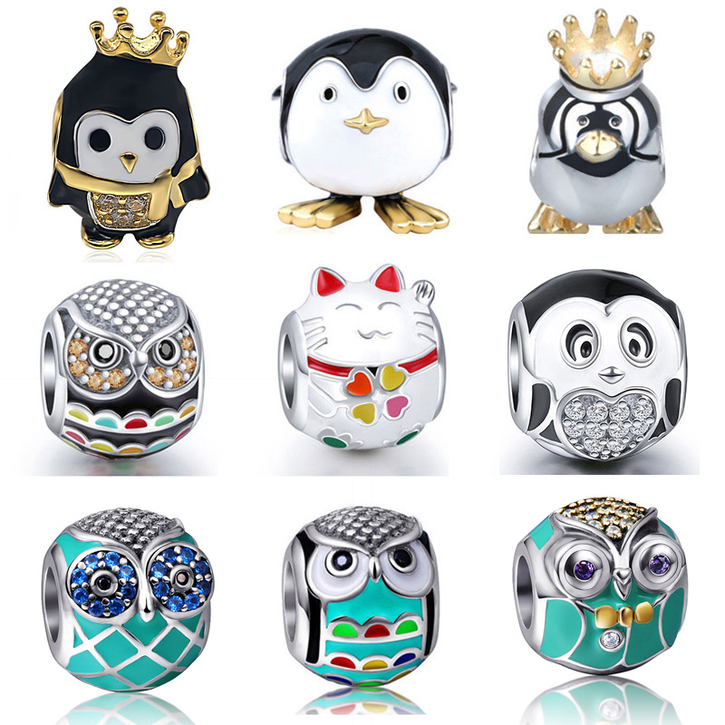 Fit Pandora charms Silver 925 original Beads Bracelets New Fashion owl cat Beads DIY Jewelry Making for Women Gifts Hot sale