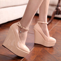 2017 sweet wedges japanned leather ultra high heels wedding shoes
