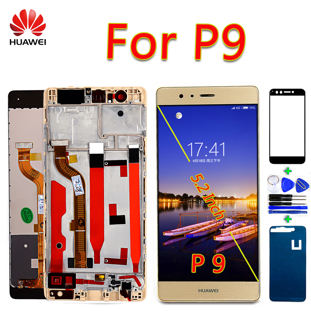 Huawei P9 LCD Display HUAWEI P9 EVA-L09 EVA-L19 Touch Screen 5.2 Inch Digitizer Assembly Frame With Free Glass Film And Tools