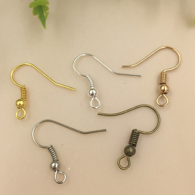 200pcs Lot Iron Ear Hook Wire Clasp With Bead Charms