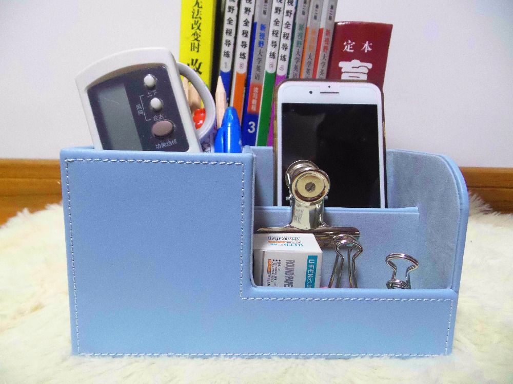 3 Blocks Holder Multifunctional PU Leather Office Desk Organizer Desktop Stationery Storage Box Pen Holder Supplies Organizer купить