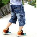 2016 Nuevo reloj Para Hombre de gran tamaño flojos holgados pantalones vaqueros cortos para muchacho de los hombres pantalones de hip hop skate pantalones para rap raperos azul hiphop