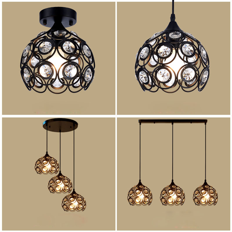 American-style chandeliers restaurant bar table porch corridor balcony lamps Nordic creative three iron crystal lamp LED lamps