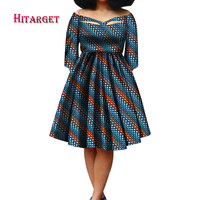 African Bazin Wax Print Dresses for Women 2018 Dashiki V Neck Dress Plus Size 6XL African Women Party Clothing WY3298