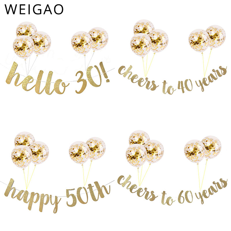 Glitter 30th 40th <font><b>50th</b></font> 60th Milestone <font><b>Birthday</b></font> Garlands with Balloons Kit Happy <font><b>Birthday</b></font> <font><b>Party</b></font> Decor Adult Cheer to 30 Years image