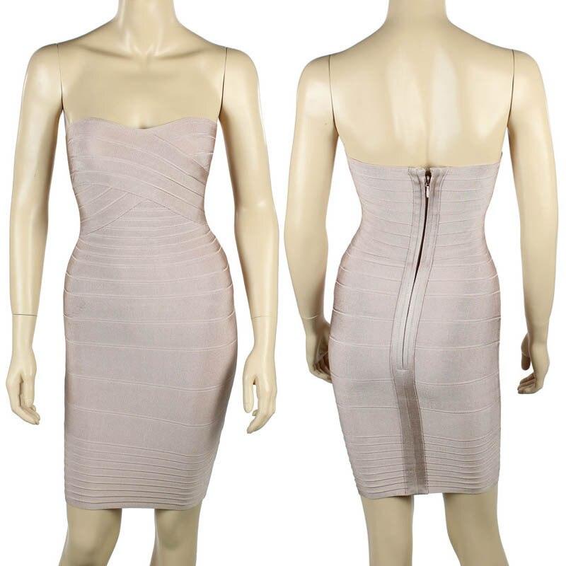 Ким Кардашьян, без бретелек, с открытыми плечами,, сексуальное женское платье, вискоза, бодикон, опт, дешевые мини обнаженные платья - Цвет: Nude