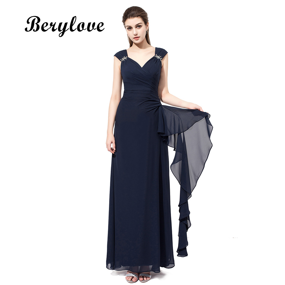BeryLove Real Photos Beading Long Prom Dresses Ruffles Chiffon Long Evening Dresses Open Back High Quality Prom Gowns Dresses