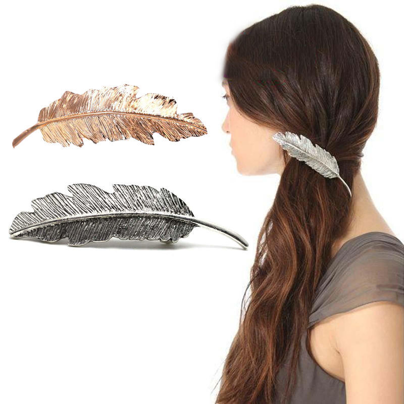 1PC Fashion lovely  Women Girl Metal Leaf Hair Clip Crystal  Hairpin Barrette Headwear Christmas Party Hair Accessory 2016 Hot characteristic metal leaf pattern hairpin for women (one piece