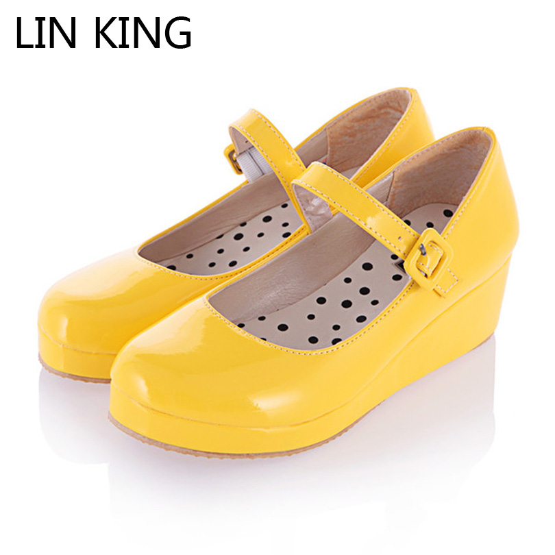 LIN KING Plus Size 47 Lolita Sweet Lourie Cosplay Single Women Shoes Ladies Wedge Shoes Fashion Women Pumps Platform Party Shoes