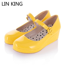 Купить с кэшбэком 2015 New Lolita Sweet Lourie Cosplay Single Women Shoes Lady Wedge Shoes Fashion Women Pumps Platform Leisure Party Shoes Female