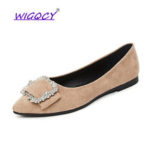 Suede Pointed flat women shoes 2019 Spring Autumn Fashion Metal Decoration Square Buckle Shallow Office female