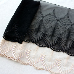 AHYONNIEX Brand 19cm x 1 Meter length white and black Color water-soluble embroidery lace