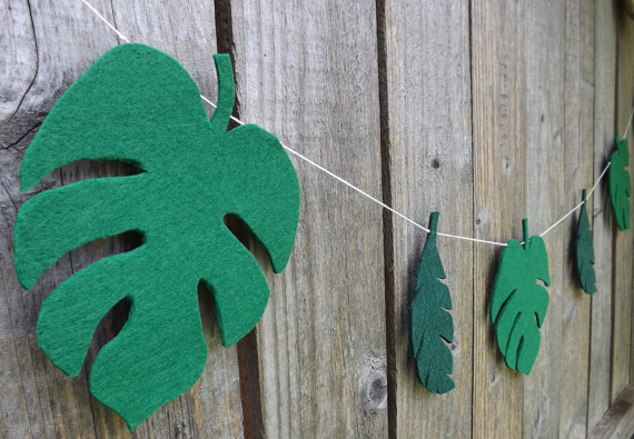 Tropical Leaf Palm Tree Garlands Christening Buntings